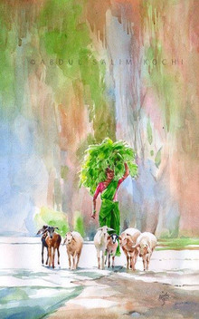 Figurative Watercolor Art Painting title Back To Home by artist Abdul Salim