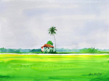 Landscape Watercolor Art Painting title Before The Arrival Of Rain by artist Abdul Salim