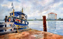 Seascape Watercolor Art Painting title Blue Boat by artist Abdul Salim