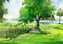 Nature Watercolor Art Painting title Bolgatty by artist Abdul Salim