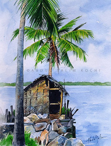 Seascape Watercolor Art Painting title Canal View by artist Abdul Salim