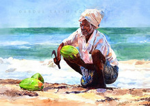 Figurative Watercolor Art Painting title Coconut Seller by artist Abdul Salim
