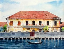 Cityscape Watercolor Art Painting title Fort Kochi Warehouse by artist Abdul Salim
