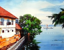 Cityscape Watercolor Art Painting title Fortkochi Canal by artist Abdul Salim