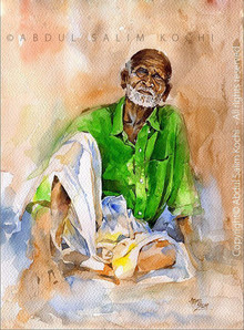 Figurative Watercolor Art Painting title Hope by artist Abdul Salim