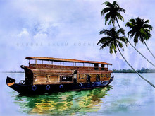 Seascape Watercolor Art Painting title House Boat by artist Abdul Salim