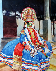 Religious Watercolor Art Painting title Kathakali by artist Abdul Salim