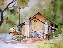 Landscape Watercolor Art Painting title Kerala Landscape 1 by artist Abdul Salim