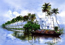 Cityscape Watercolor Art Painting title Kettuvallam by artist Abdul Salim