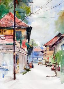 Cityscape Watercolor Art Painting title Mattanchery Bazar by artist Abdul Salim