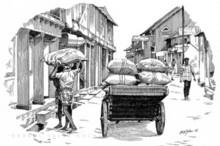 Cityscape Pen Art Drawing title Mattanchery Bazar by artist Abdul Salim