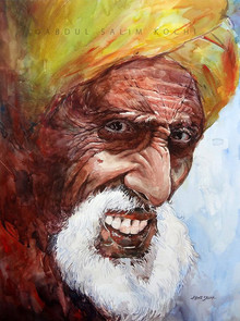 Portrait Watercolor Art Painting title Smile In The Evening by artist Abdul Salim