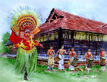 Religious Watercolor Art Painting title Theyyam 2 by artist Abdul Salim