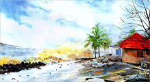 Cityscape Watercolor Art Painting title Tsunami by artist Abdul Salim