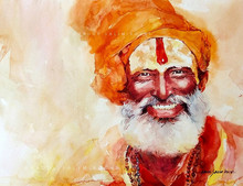 Religious Watercolor Art Painting title Turban Man 1 by artist Abdul Salim