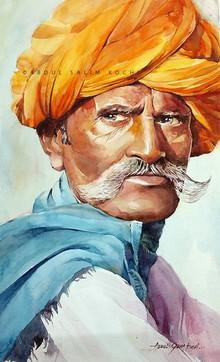 Portrait Watercolor Art Painting title Turban Man 2 by artist Abdul Salim