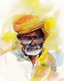 Portrait Watercolor Art Painting title Turban Man 3 by artist Abdul Salim
