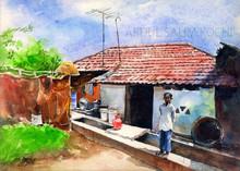 Landscape Watercolor Art Painting title Village House 3 by artist Abdul Salim
