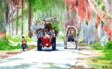 Landscape Watercolor Art Painting title Village Path by artist Abdul Salim