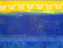 contemporary Acrylic Art Painting title Yellow Blue Butterflies In The Sky by artist Nitasha Jaini