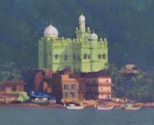Cityscape Oil Art Painting title Azaan by artist Paresh Thukrul