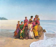 Figurative Oil Art Painting title Daughters Of The Sea by artist Paresh Thukrul