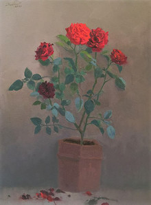 Still-life Oil Art Painting title Rose by artist Paresh Thukrul