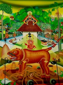 Religious Oil Art Painting title Vechicle Of The God by artist Rejeesh Sarovar