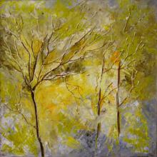 Nature Oil Art Painting title 'Autumn Falls' by artist Bahadur Singh