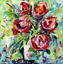 Nature Oil Art Painting title Flowers by artist Bahadur Singh