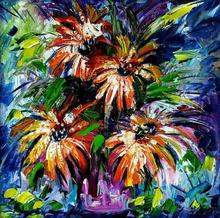 Nature Oil Art Painting title Flowers 2 by artist Bahadur Singh