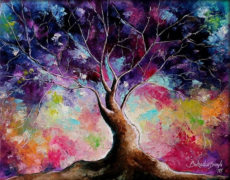 Tree Of Life 7 Painting By Bahadur Singh Artzolo