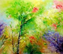 Landscape Oil Art Painting title 'Nature 4' by artist Bahadur Singh