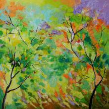 Nature Oil Art Painting title 'Nature Colors' by artist Bahadur Singh
