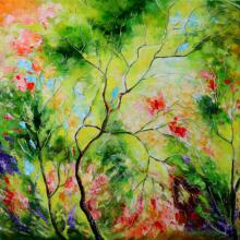 Nature Oil Art Painting title 'Nature Green I' by artist Bahadur Singh