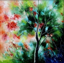 Nature Oil Art Painting title 'Nature Small' by artist Bahadur Singh