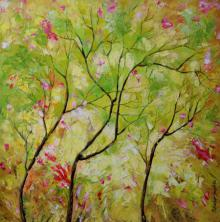 Nature Oil Art Painting title 'Nature Spring' by artist Bahadur Singh