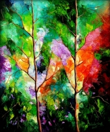 Nature Oil Art Painting title 'Season Of Love 1' by artist Bahadur Singh