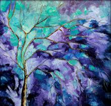 Nature Oil Art Painting title 'Season Violet' by artist Bahadur Singh