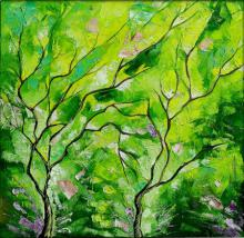 Nature Oil Art Painting title 'Season Chrome' by artist Bahadur Singh