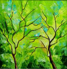 Nature Oil Art Painting title 'Season Green' by artist Bahadur Singh