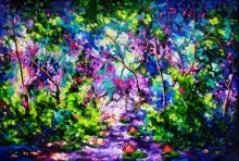 Nature Oil Art Painting title 'The Purple Way 1' by artist Bahadur Singh