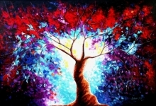 Nature Oil Art Painting title 'Tree Of Life 4' by artist Bahadur Singh