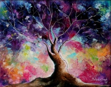 Nature Oil Art Painting title 'Tree Of Life 7' by artist Bahadur Singh
