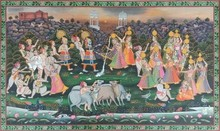 Traditional Indian art title Daan Lila on Cloth - Pichwai Paintings