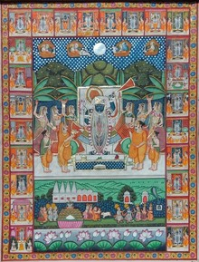 Traditional Indian art title Sharad Purnima on Cloth - Pichwai Paintings