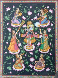 Traditional Indian art title Shree Krishna Lotus on Cloth - Pichwai Paintings