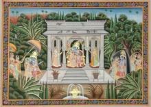 Traditional Indian art title Shree Krishna Radha on Cloth - Pichwai Paintings