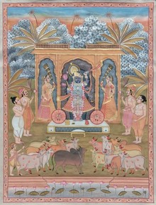 Traditional Indian art title Shreenathji on Cloth - Pichwai Paintings