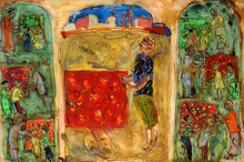 Figurative Mixed-media Art Painting title Fruit Seller by artist Subroto Mondal